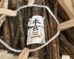 「本宮三」御用材の枝を受け取りました